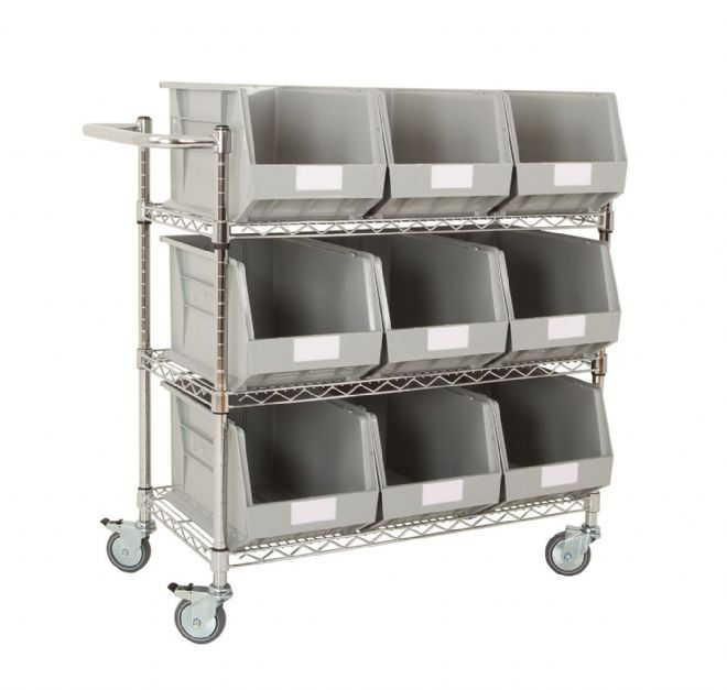 Chrome Trolley with Grey Bins - Kit D
